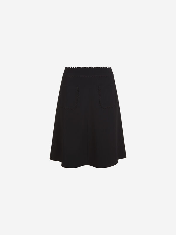 Scallop Edge Pocket Detail Skirt