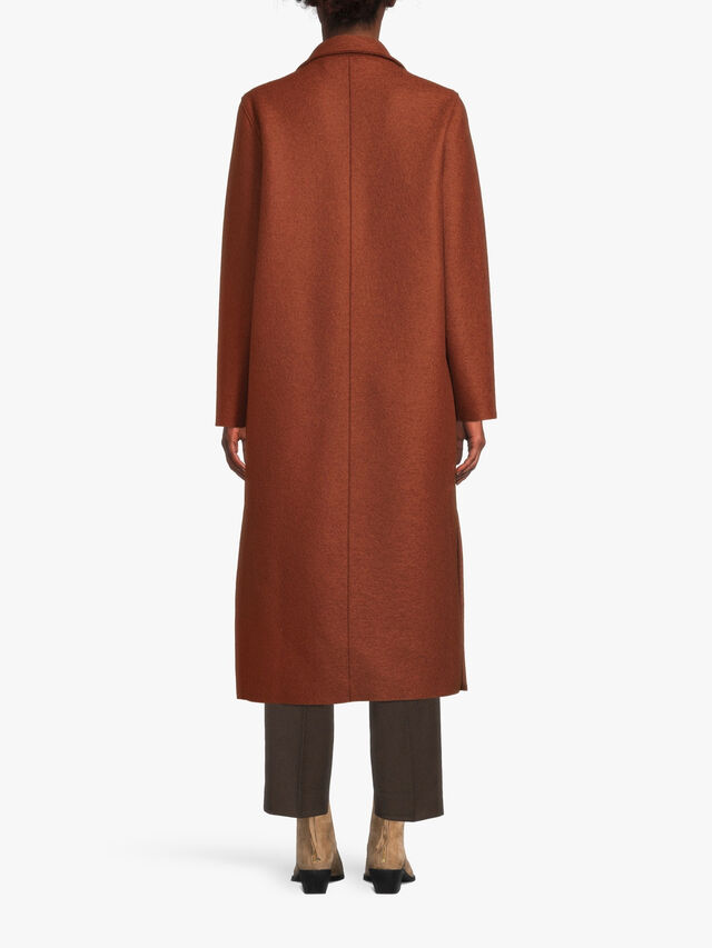 Pressed Wool Long Patch Pockets Coat