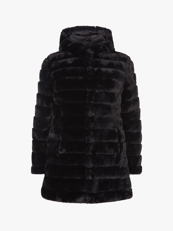 Reversible Faux Fur and Quilt Coat