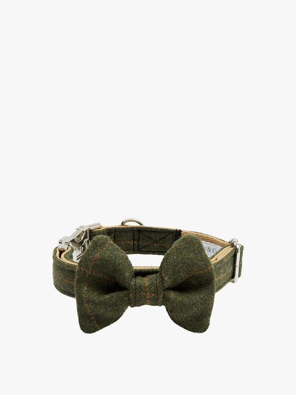Green Tartan Harris Tweed Dog Collar Large