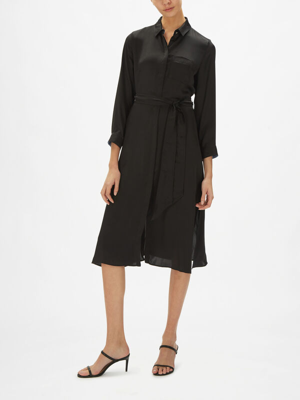 Cairate Satin Belted Shirt Dress