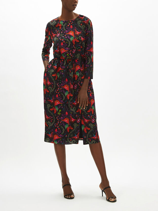 Button Neck Midi Dress