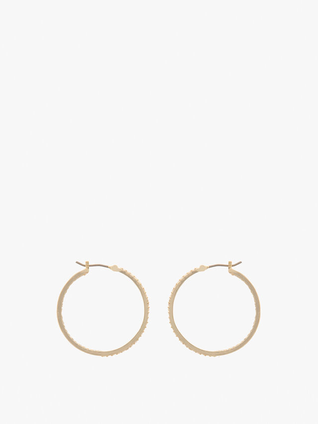 Gold Tone Crystal Micro Pave Inlay Hoop Earrings