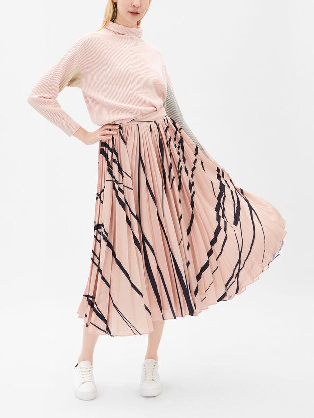 Denis Pattern Pleated Midi Skirt