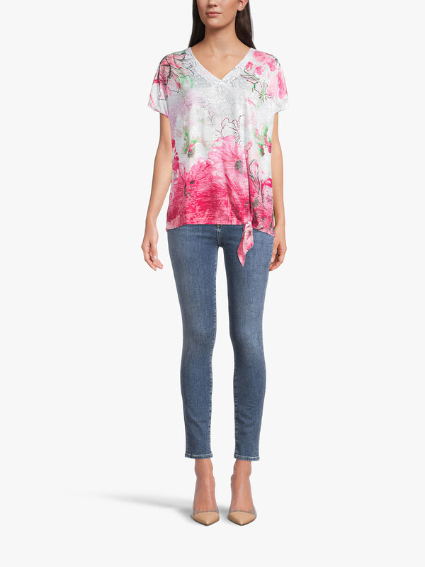 Abstract Print V Neck T Shirt with Knot Hem Detail
