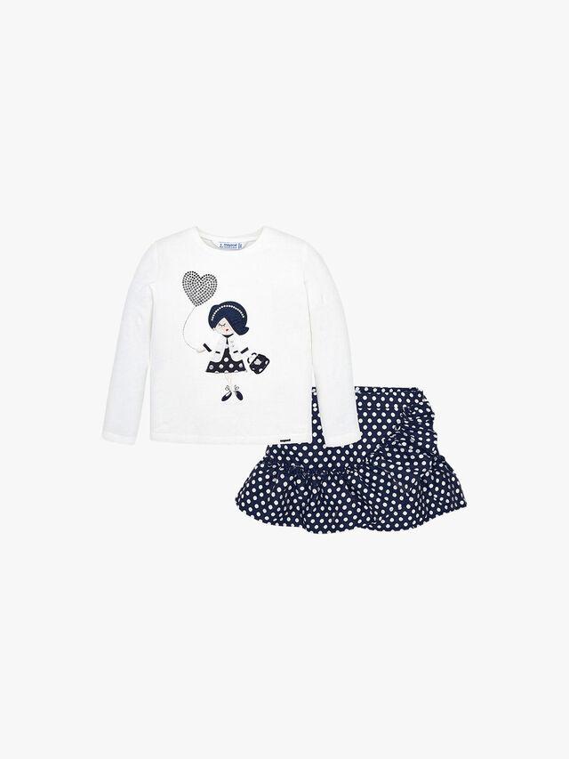 T-Shirt And Polka Dot Skirt Set
