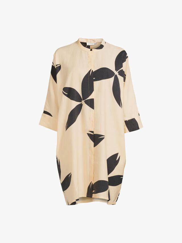 Losetta Block Flower Print Midi Shirt Dress