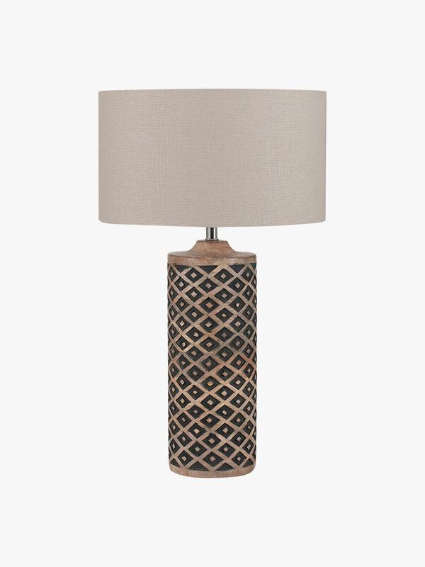 Tall Wooden Diamond Table Lamp