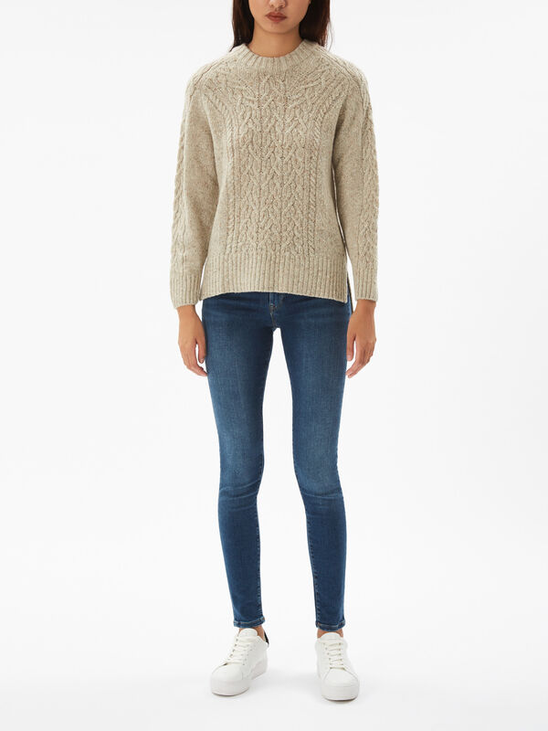 Speckled Cable Crew Neck Knit
