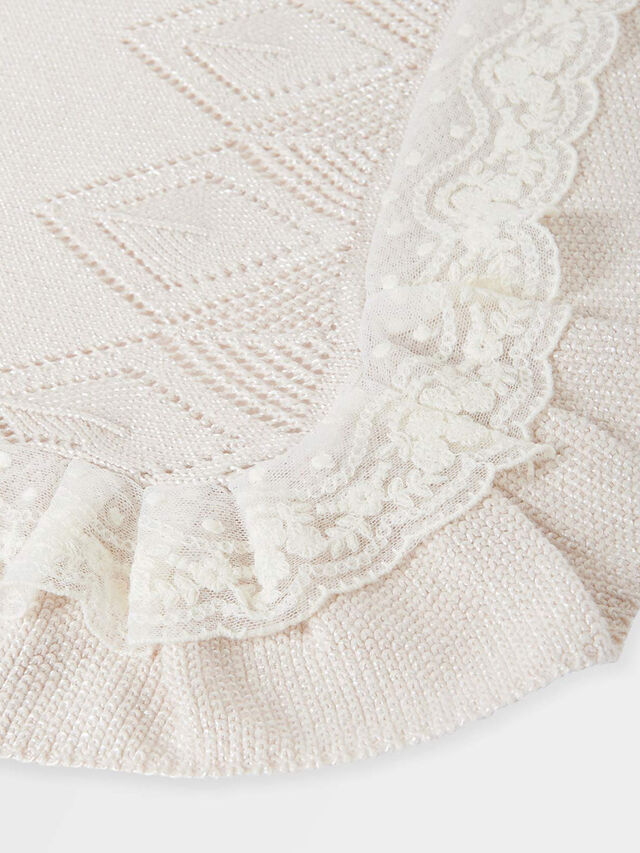 Knitted Lace Trim Blanket