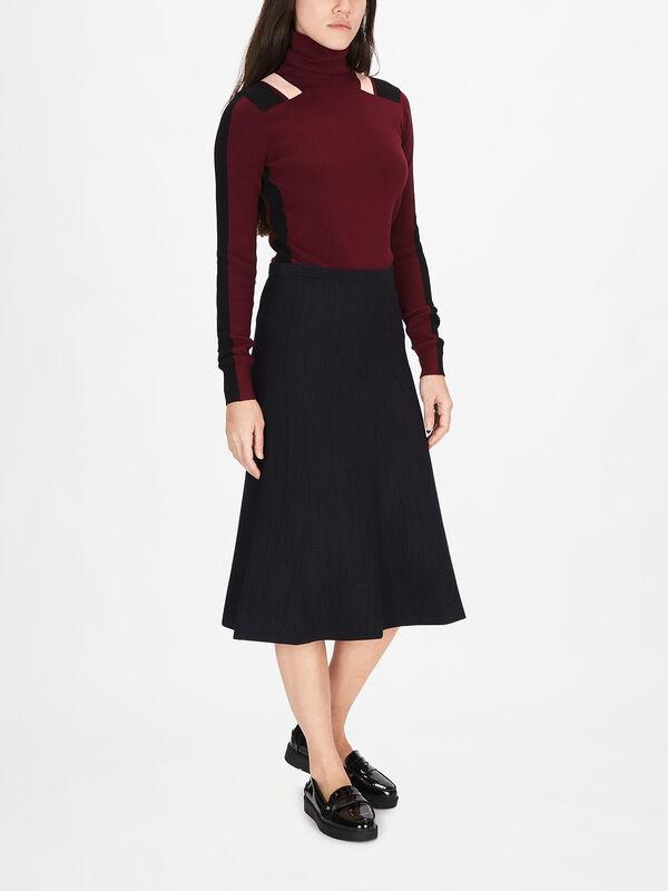 Fluted Soft Viscose Blend Midi Skirt