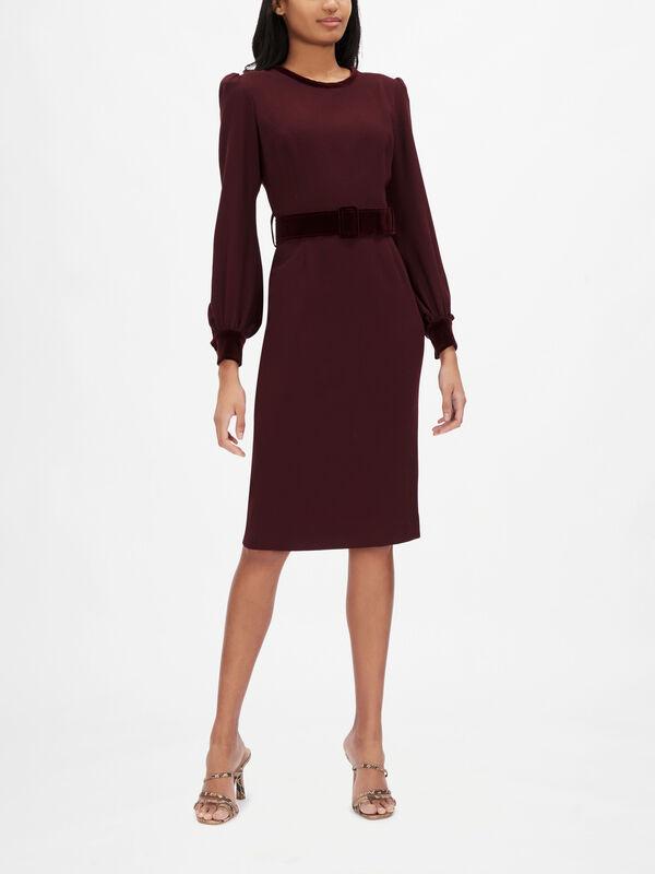 Velvet Belt Detail Pencil Dress