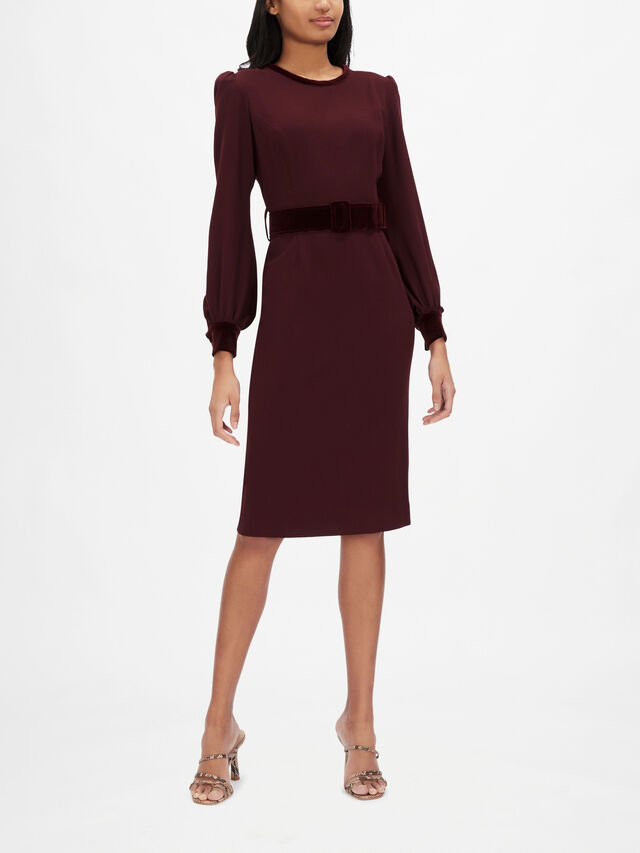 Velvet Belt Detail Pencil Dress