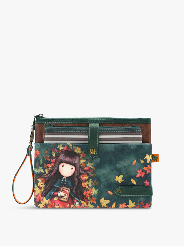 Gorjuss Double Pouch Accessory Case Autumn Leaves