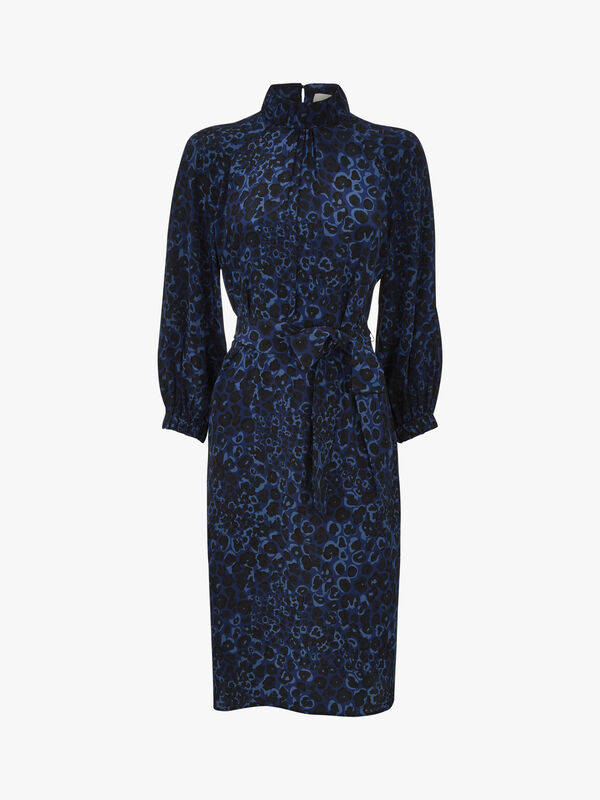 Silk Gathered Funnel Neck Dress