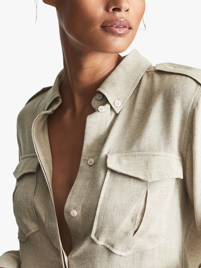 Leah Cotton Blend Twin Pocket Shirt
