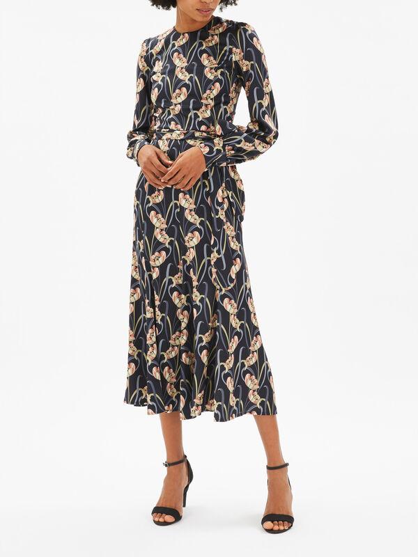Art Nouveau Print Midi Dress