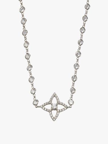 Crystal Lucky Quatrefoil Flower Long Necklace