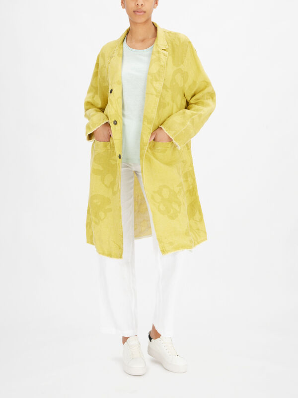 Frowe Washed Pattern Funnel Neck Coat