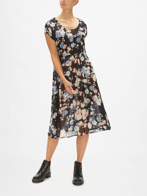 Olga Flower Print Cap Sleeve Dress