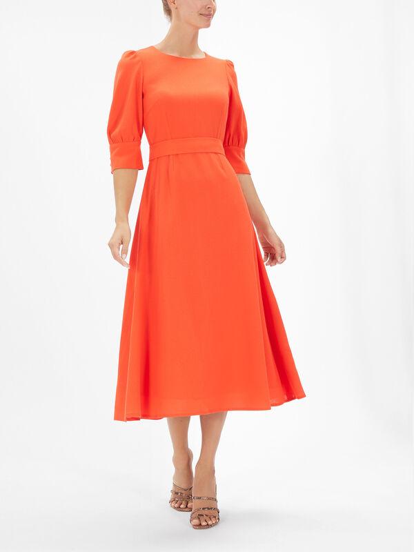 Kane Bishop-Sleeve Midi Dress