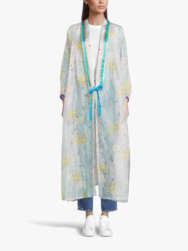 Printed Linen Silk Gauze Kimono