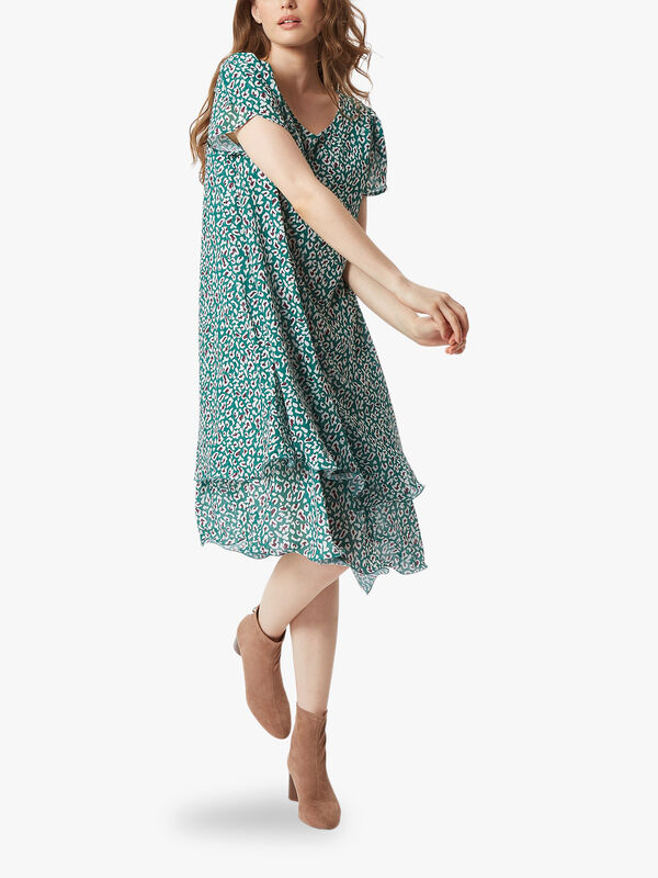 Petal Sleeve Wave Hem Dress