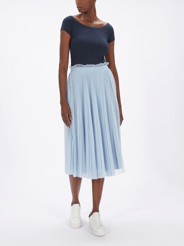 Premessa Pleated Tulle Midi Skirt