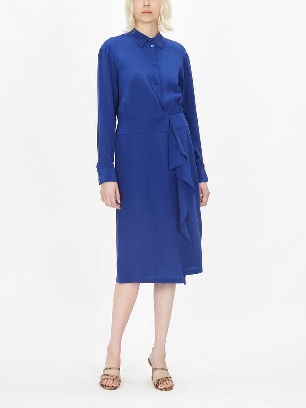 Empoli Silk Shirt Dress w/Wrap Skirt Detail
