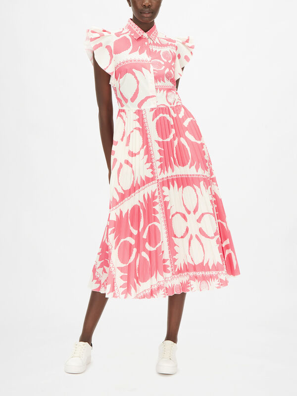 Pleated Printed Midi Dress