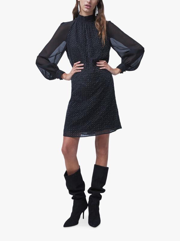 Batek Embellished Crew Neck Sequin Dress
