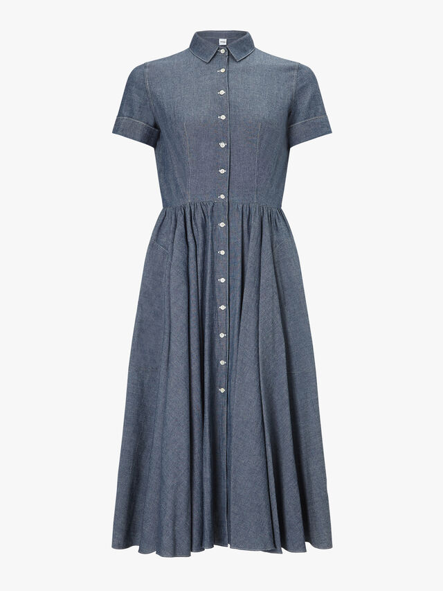 Short Sleeve Button Down Denim Dress