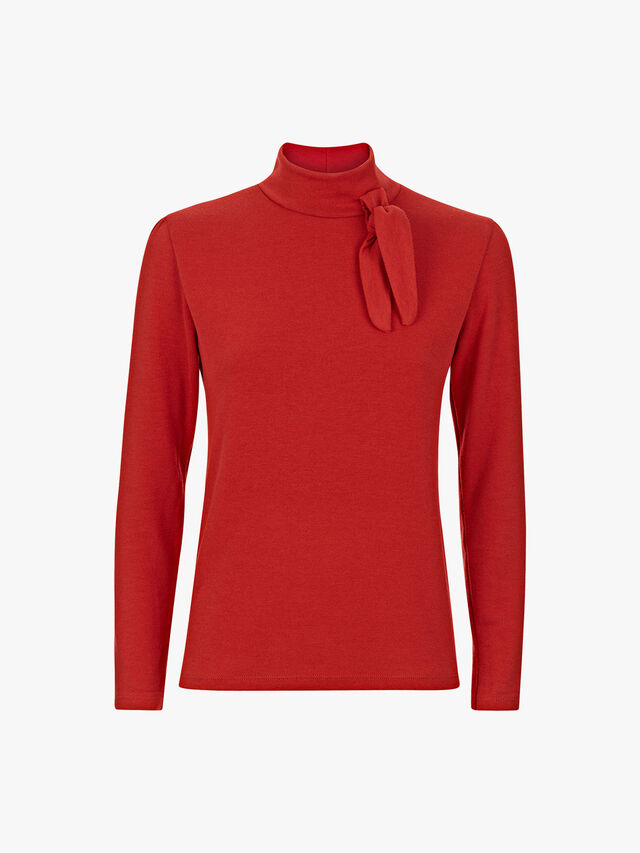 Bow Detail Polo Neck Jumper