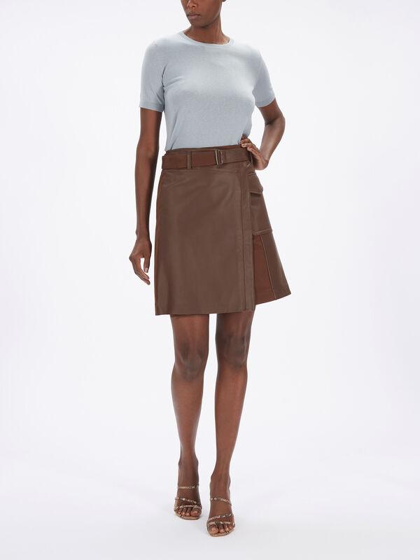 Venezia Leather Wrap Skirt w/Pocket