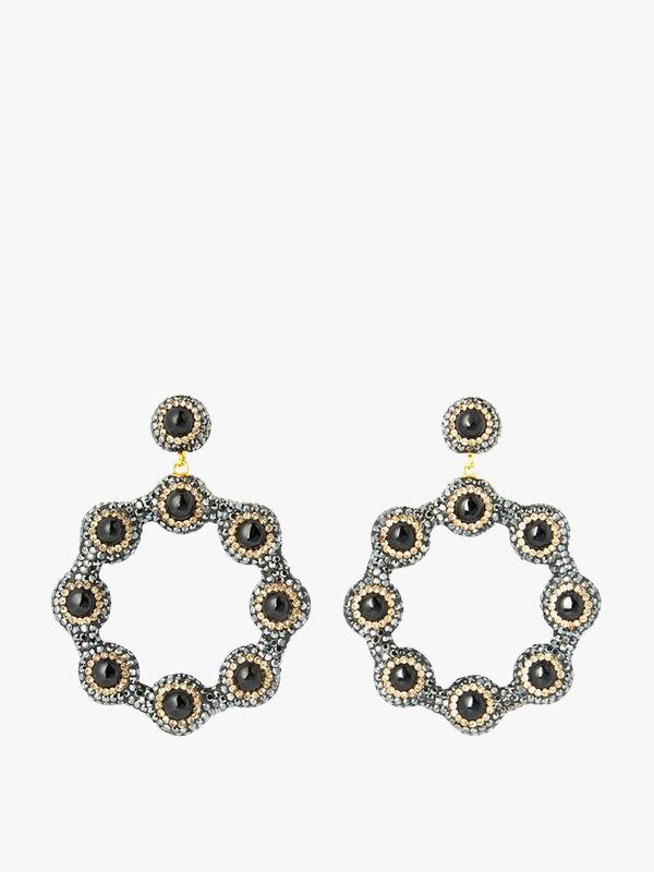 Black Onyx Hoop Earrings
