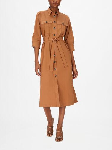 Crop-Slv-A-Line-Cotton-Shirt-Dress-w-Waist-Tie-F1SK57