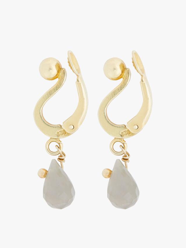 Short Labradorite Clip Earrings
