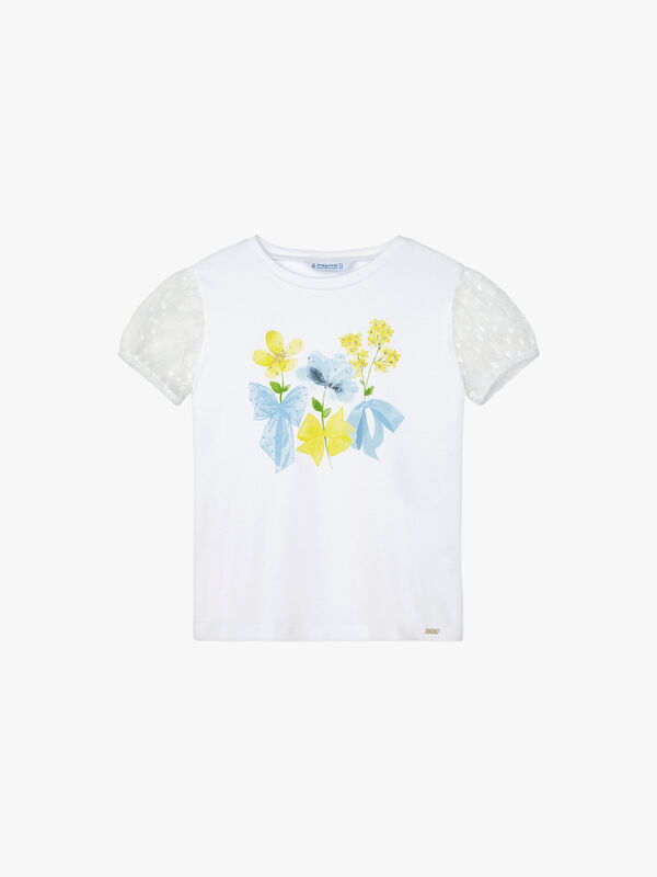 Flower Print and Tulle Sleeve T-Shirt