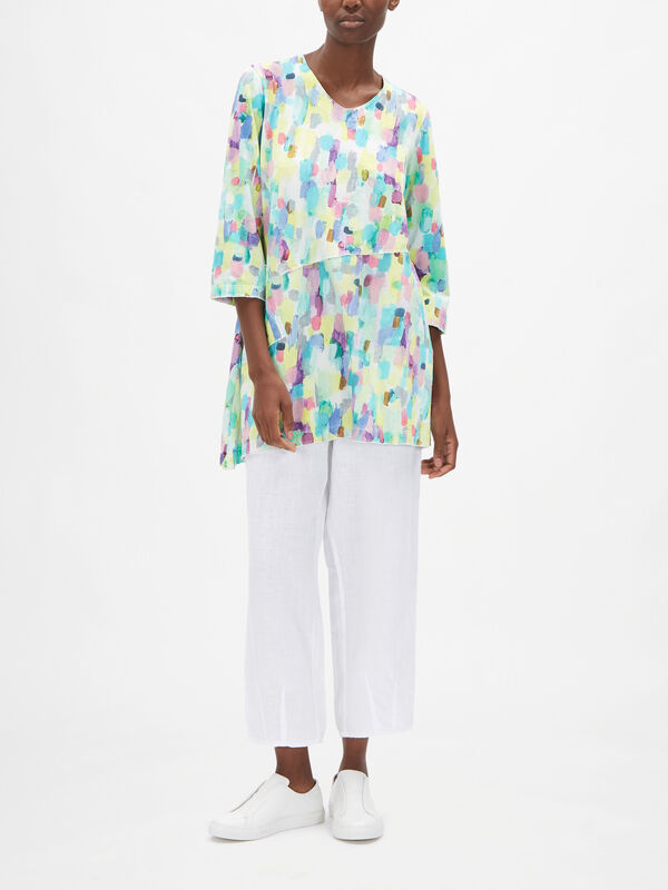 Watercolour Print Top with Front Pockets