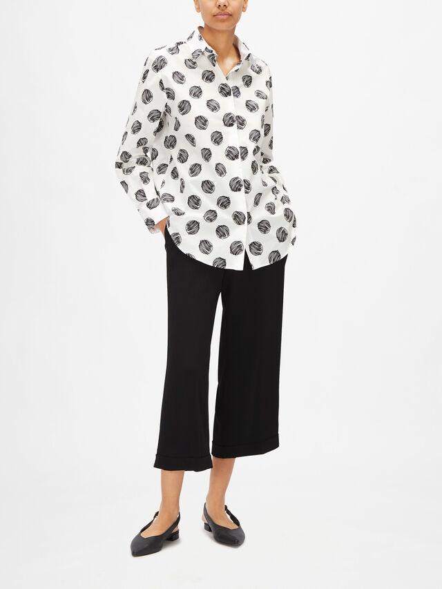 Spot Print Curved Hem Shirt