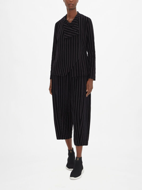 Asymmetrical Front Striped Jacket