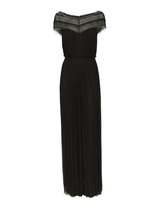 Lace Trim Silk Tulle Maxi Dress