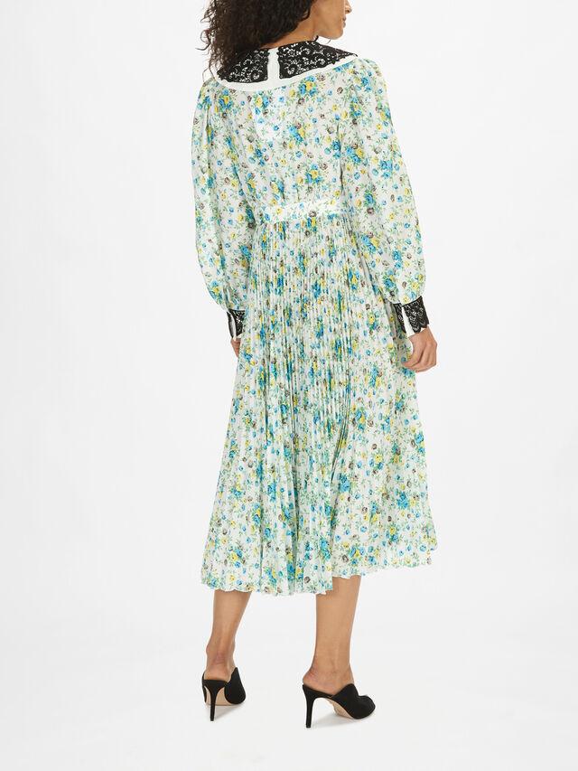 Contrast Collar Floral Dress