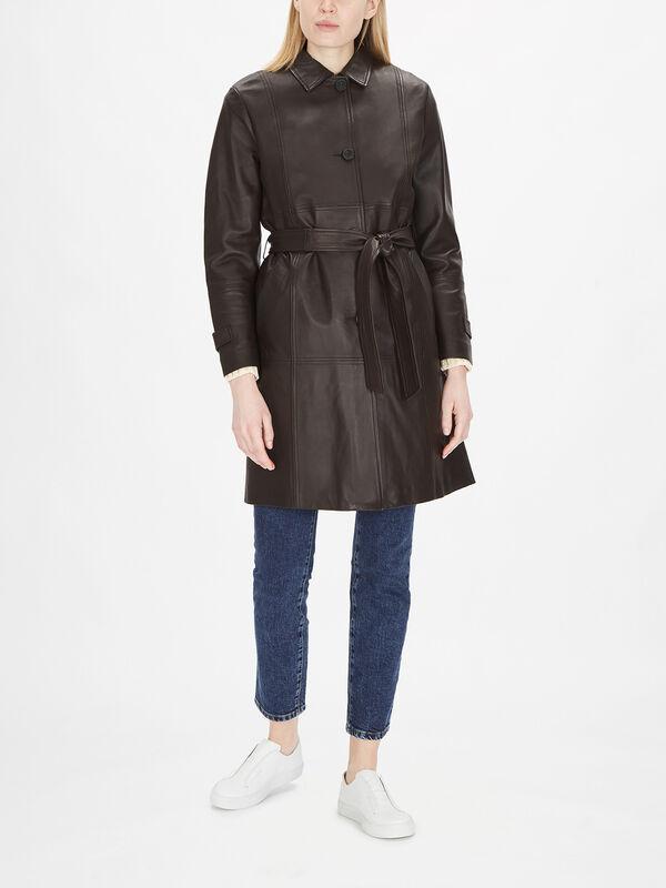 Ottico Leather Coat with Belt