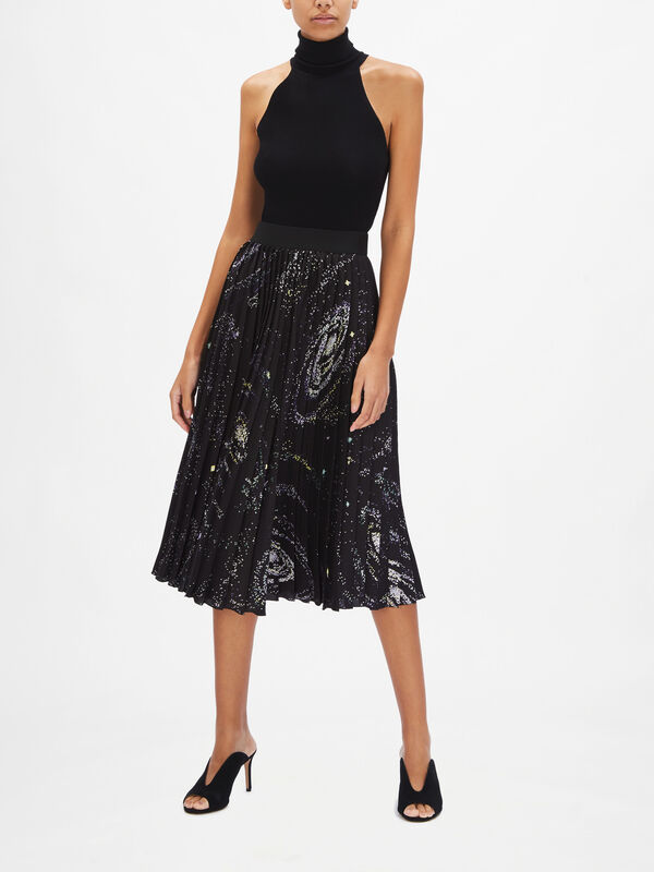 Disco Pleated Star Print Skirt
