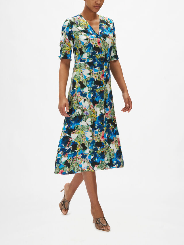 Short Sleeve V Neck Button Down Maxi Dress