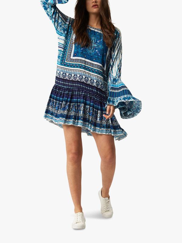 Print Bead Tunic Dress