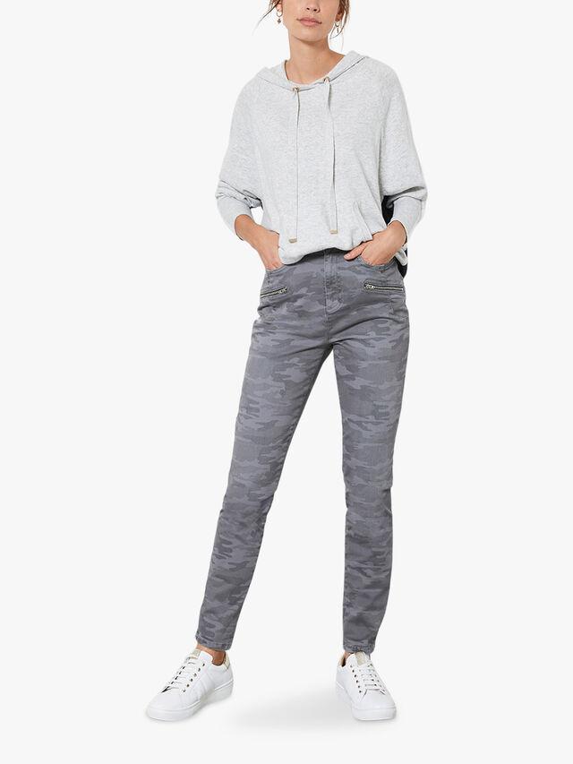 Grey Blocked Knitted Hoodie