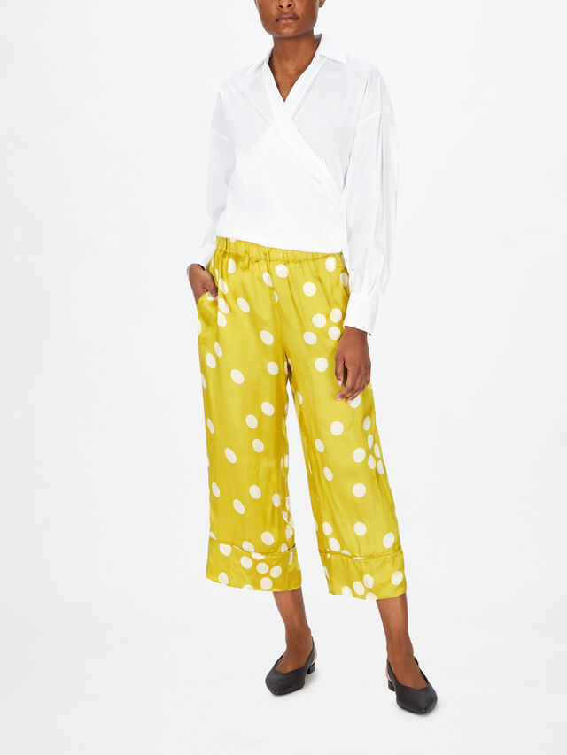 Spotted Pull On Cropped Trouser