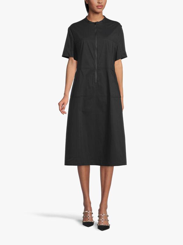 Cotton Shift Dress With Mandarin Collar